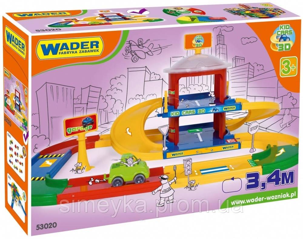 Детский гараж Wader, 2 этажа с дорогой 3,4 м