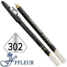 Ffleur - Карандаш ML-300 для глаз дерево с точилкой Тон №302 pearl white перламутр