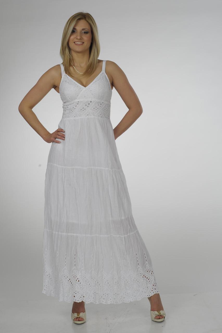 Сарафан женский белый хлопок, длинный в пол,, ПЛ 10052 ,46,48,50,
