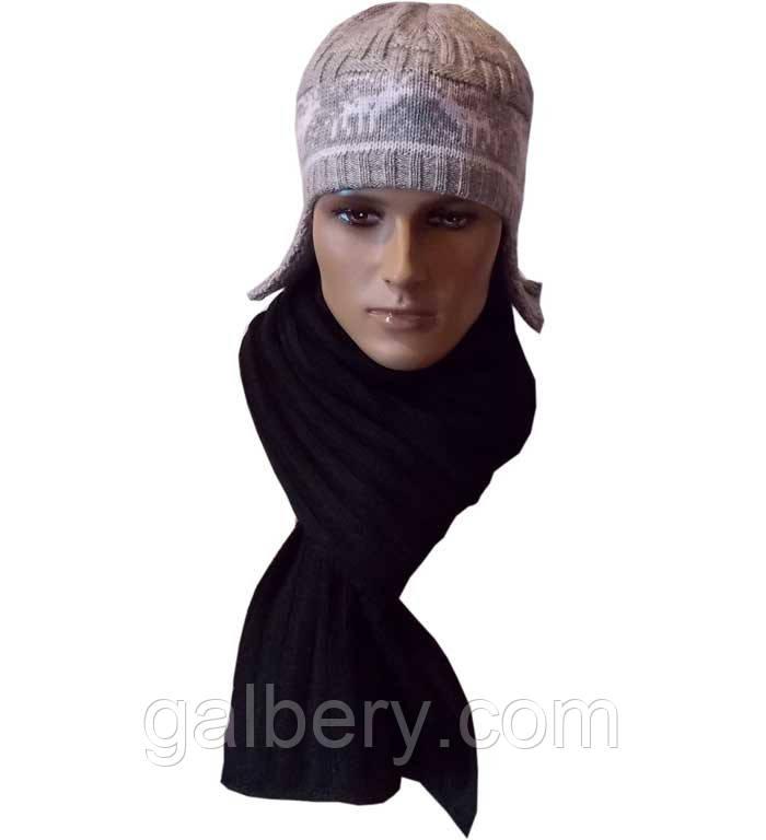 Чоловіча в'язана шапка - вушанка ( утеплений варіант ) і шарф - петля, з орнаментом норвержским