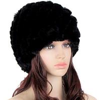 Зимняя шапка из меха кролика черная