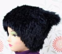 Детская зимняя шапка из меха кролика с ушами