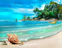 Набор алмазной мозаики Пляжный отдых 30 х 40 см (арт. FS364) квадратные камни