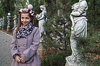 Кашемировое  пальто для девочки Красуня в комплекте с сумочкой и платком
