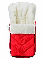Зимний детский конверт на меху в санки коляску, красный