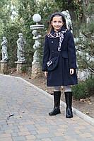 Кашемировое  пальто для девочки Красуня в комплекте с сумочкой и платком синее