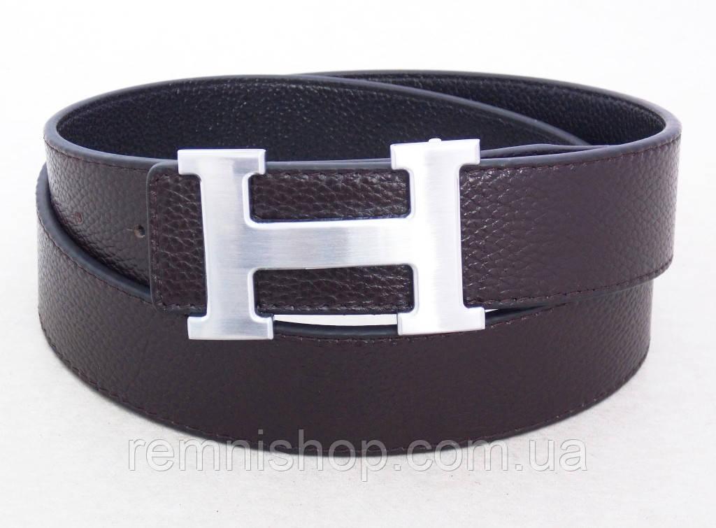 Ремень HERMES двухсторонний кожаный ( черный / коричневый )