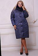 Пальто женское зимнее с мехом кролика . Воротник Стойка