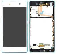 Дисплейный модуль (дисплей + сенсор) для Sony Xperia Z3+ E6553, с рамкой, белый, оригинал