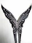 Чорна срібна метелик аплікація клейова вишивка на тканинній основі вишивка сріблом клеїться праскою, фото 2