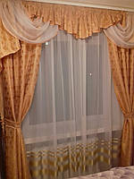 Шторный комплект на окно (Бароко)персикового цвета ширина от 2.5м до 3.5м.Высота 2.8м