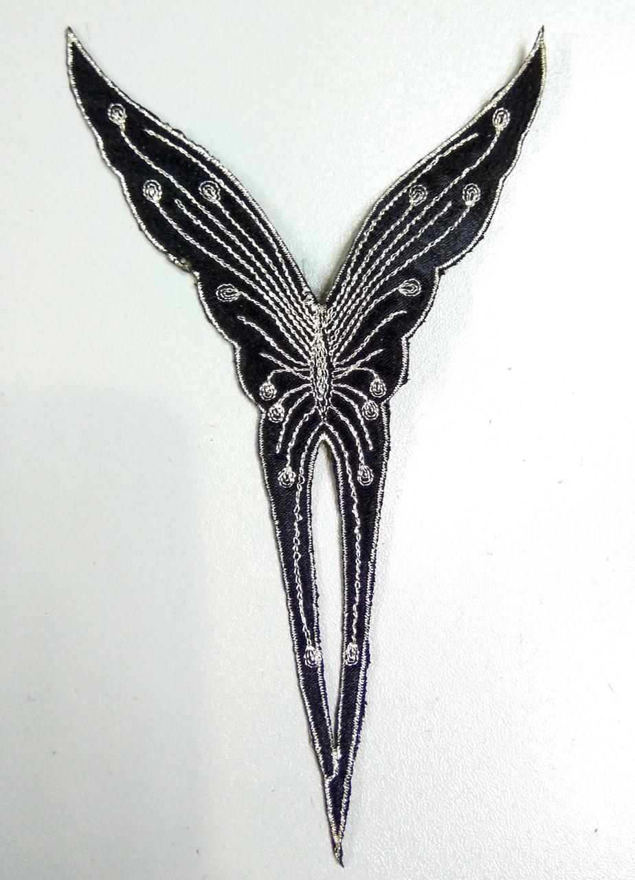 Чорна срібна метелик аплікація клейова вишивка на тканинній основі вишивка сріблом клеїться праскою