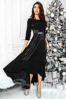 Оригинальное атласное платье. Цвет черный.