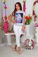 """Летняя женская блуза-футболка """"Glamour"""" с принтом и коротким рукавом (3 цвета)"""