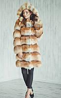 Модная женская шуба из лисы с капюшоном. Длина 90 см