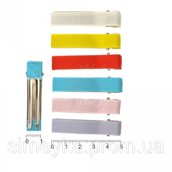 Зажим-основа 5 см с цветной репсовой лентой, уп. 12 шт. (по 2 шт каждого цвета)