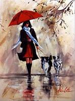 """Алмазная вышивка Сквозь дождь иду к тебе 30 х 40 см (арт. FS359) серия картин """"Чувства"""" без коробки"""