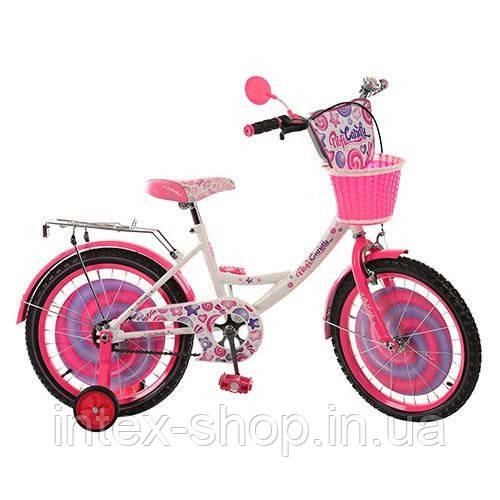 Детский двухколесный велосипед 18д(арт. PC1853G) Candy, бело-розовый