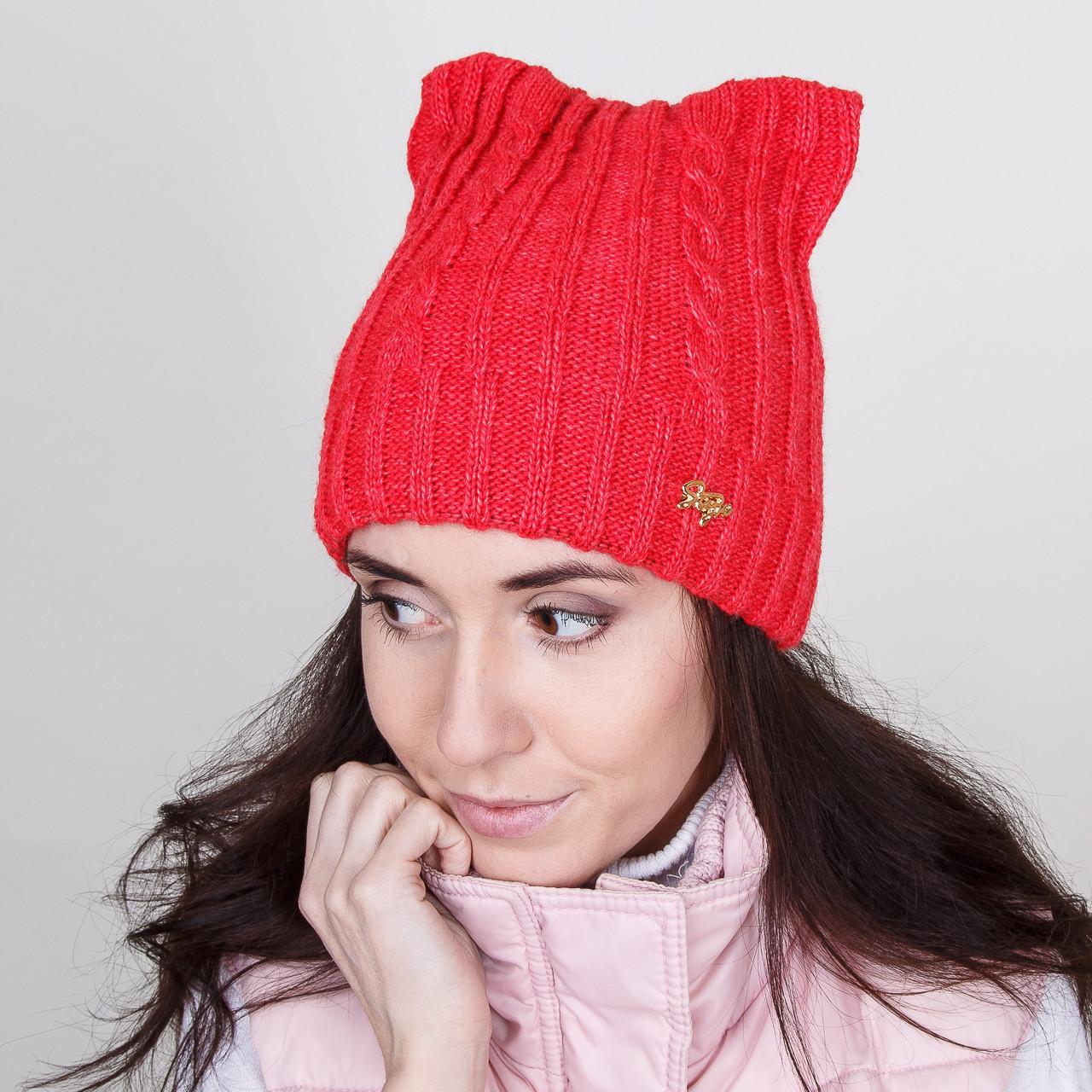 Стильная зимняя женская шапка - Кошка - Артикул W-2a