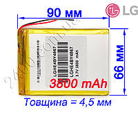 Аккумулятор 3800mAh 446690 мм 3,7в универсальный для планшетов LG 3800мАч 3.7v 4.4*66*90
