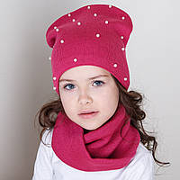 Зимний комплект с бусинками для девочки из шапки и хомута - Артикул dk6