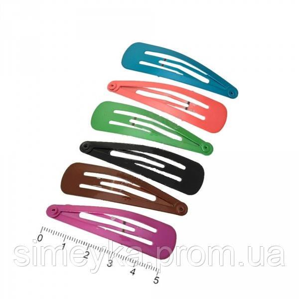 """Защёлка для волос """"тик-так"""" (клик-клак) 5 см цветная, упаковка 12 шт."""