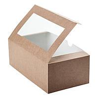 Коробка для 2 капкейков с окошком и со вставкой, 200х110х85 мм., крафт, фото 1