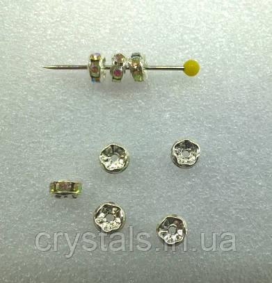 Разделители для бусин Preciosa (Чехия) 5 мм Crystal AB/серебро