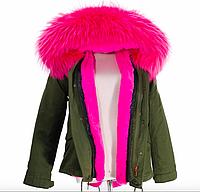 Модная женская парка с натуральным ярким розовым  мехом