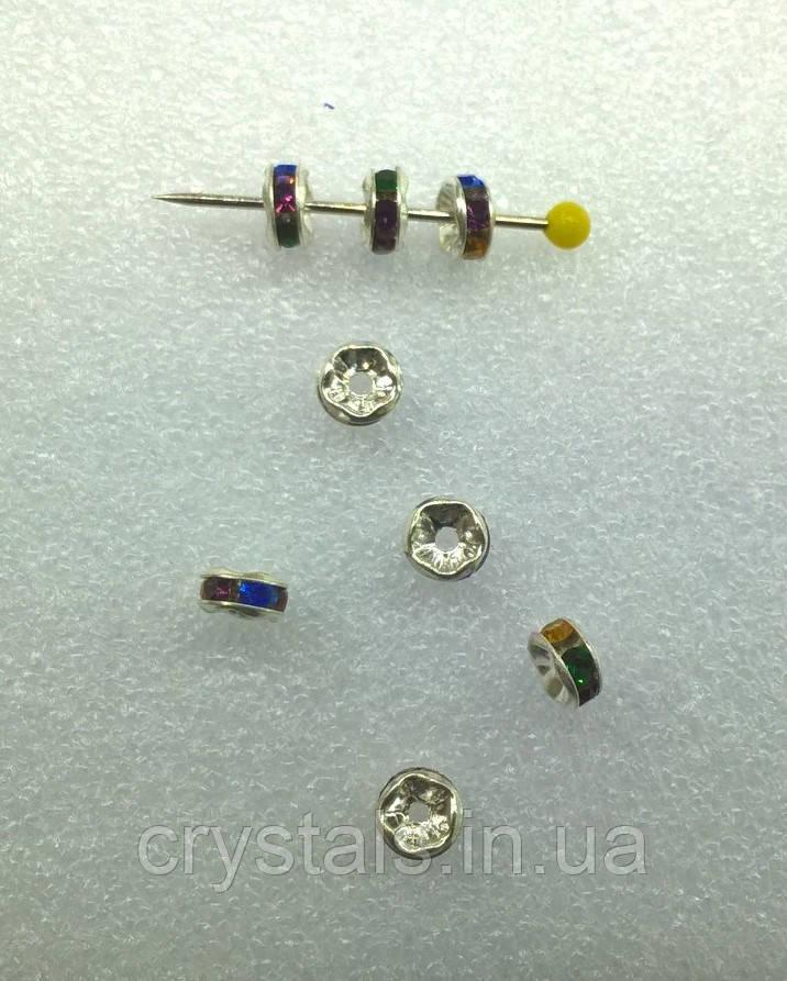 Разделители для бусин Preciosa (Чехия) 5 мм Dark Multi/серебро