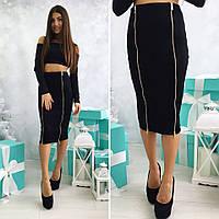 Женская стильная юбка MIDI с двумя молниями 3039 / черная