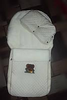 Конверт зимний на меху в санки или коляску+муфта сплошная, фото 1