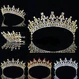 Детская корона, диадема, тиара в золоте с красными камнями, высота 5,5 см., фото 7
