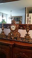 Часы бронза с подсвечниками, Каминные часы из бронзы Барокко