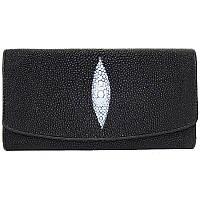 Женский кошелек из натуральной кожи ската, цвет черный