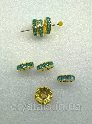 Разделители для бусин Preciosa (Чехия) 10 мм Aquamarine/латунь
