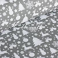 ✁ Отрезы бязи Новогодние украшения серая, фото 1