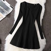 Платье женское с рукавами Фонариками черное, фото 1