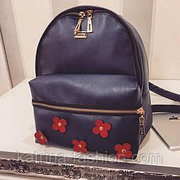Красивый рюкзак из эко-кожи с цветочками