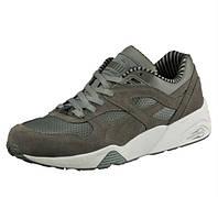 Беговые мужские кроссовки Пума серые Puma Trinomic R698 Citi Series Green