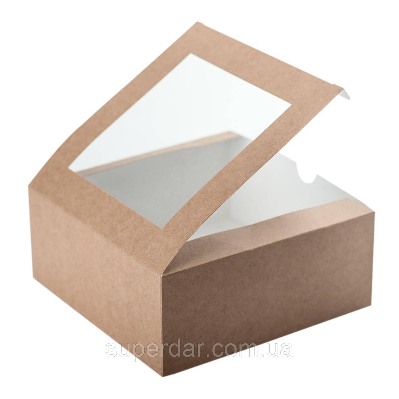 Коробка для 4 капкейков 165х165х70 мм., с окошком и со вставкой, крафт