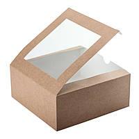 Коробка для 4 капкейков 165х165х70 мм., с окошком и со вставкой, крафт, фото 1