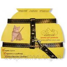 Шлея Collar кожанная на планшеті для котів шир.12 мм, A:22-30 см,B:30-40 см, довжина 122 див.