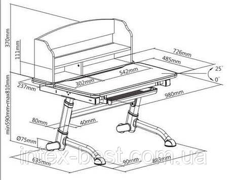 Детский стол-трансформер FunDesk Volare II Grey, фото 2