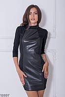 Жіноче чорне плаття зі вставками еко-шкіри Libress