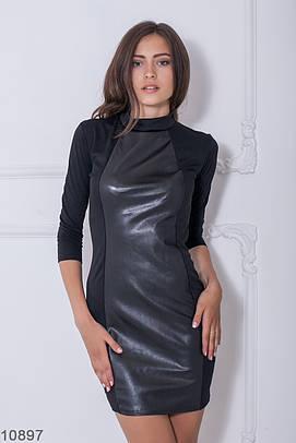 Жіноче чорне плаття зі вставками еко-шкіри Libress (S-XXL)