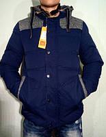 Мужской зимний пуховик на холлофайбере синяя