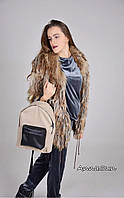 Джинсовый рюкзак бежевого цвета с черными матовым карманом и шлейками
