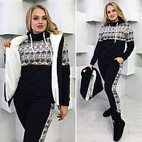 Женский теплый спортивный костюм-тройка 2058 / черный
