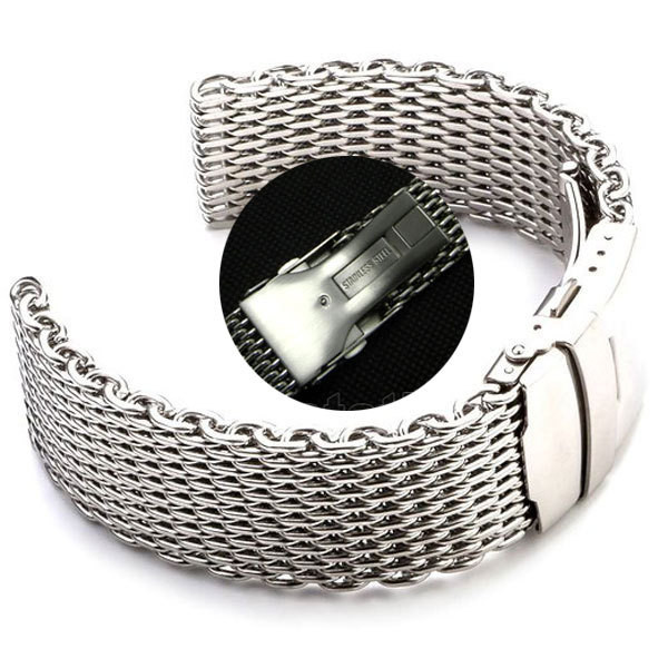 Браслет для часов из нержавеющей стали, миланский стиль, литой. 20 мм